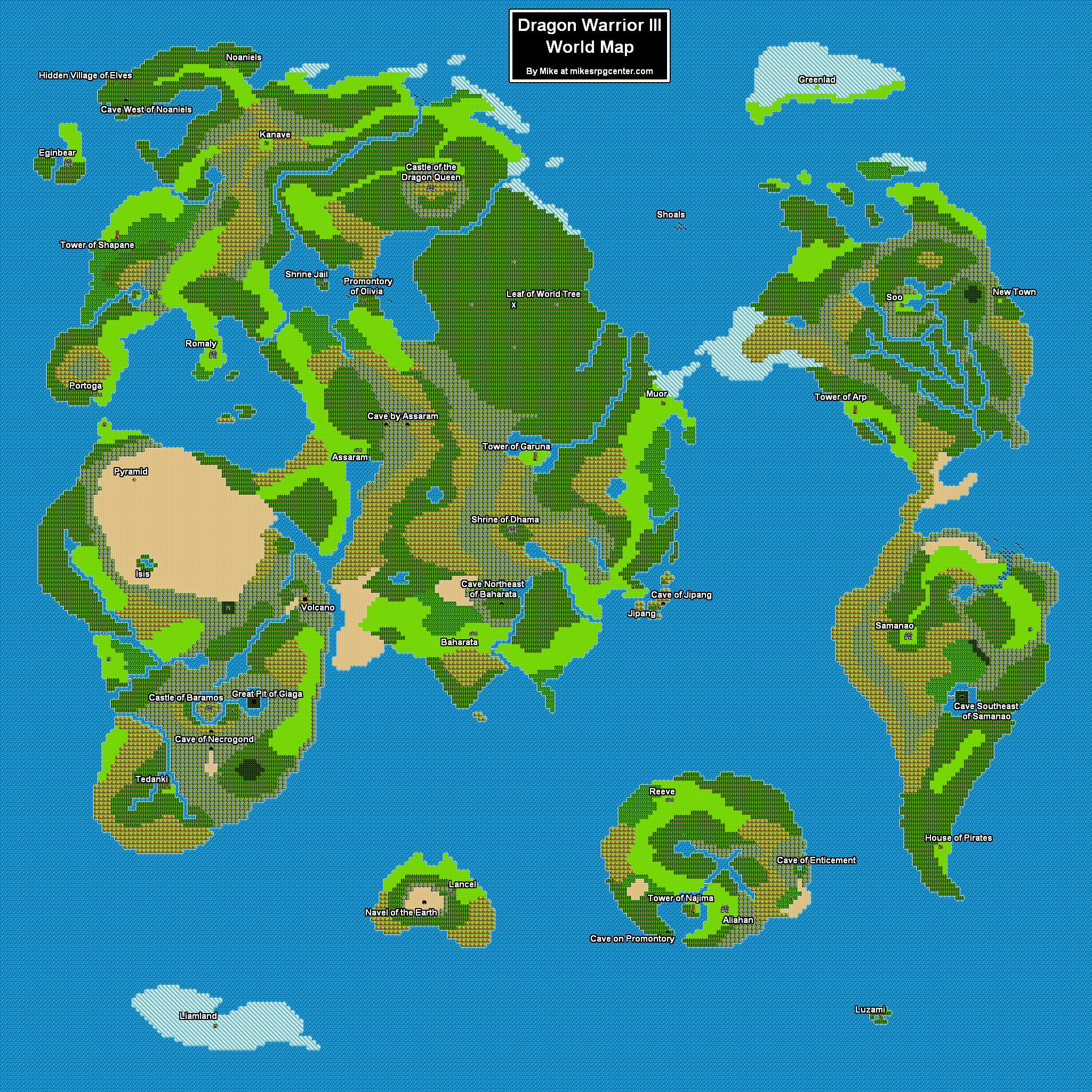 Mikes RPG Center Dragon Warrior III - World map 3