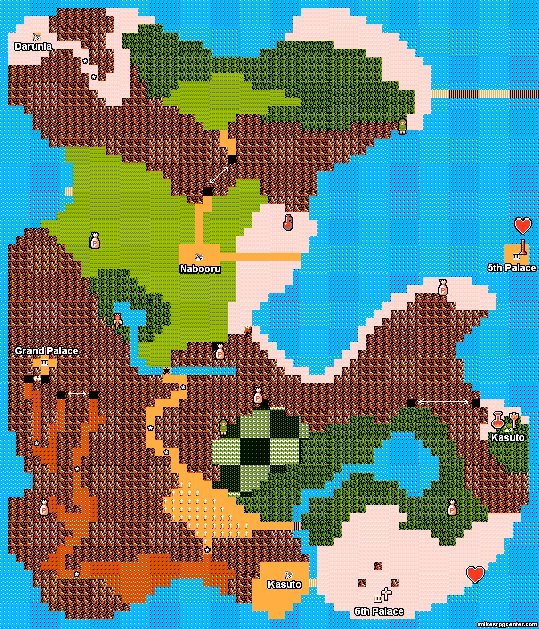 Mike's RPG Center - Zelda II - Maps - Hyrule - 2nd Half on
